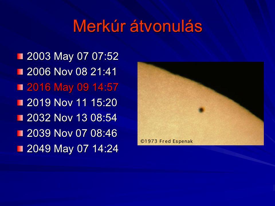 Merkúr átvonulás 2003 May 07 07:52 2006 Nov 08 21:41 2016 May 09 14:57 2019 Nov 11 15:20 2032 Nov 13 08:54 2039 Nov 07 08:46 2049 May 07 14:24