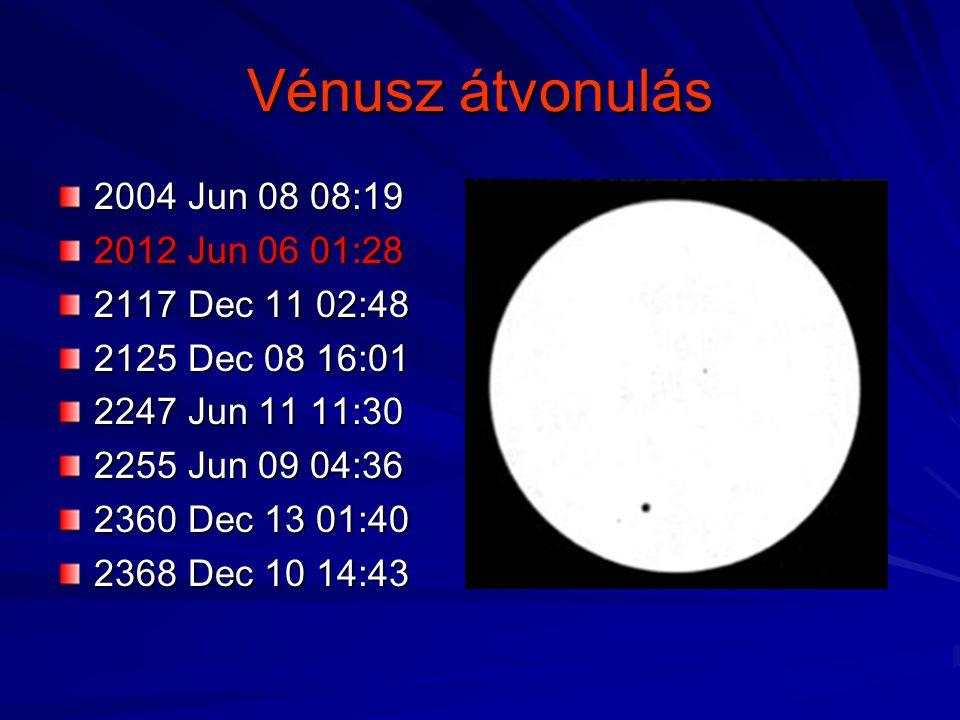Vénusz átvonulás 2004 Jun 08 08:19 2012 Jun 06 01:28 2117 Dec 11 02:48 2125 Dec 08 16:01 2247 Jun 11 11:30 2255 Jun 09 04:36 2360 Dec 13 01:40 2368 De