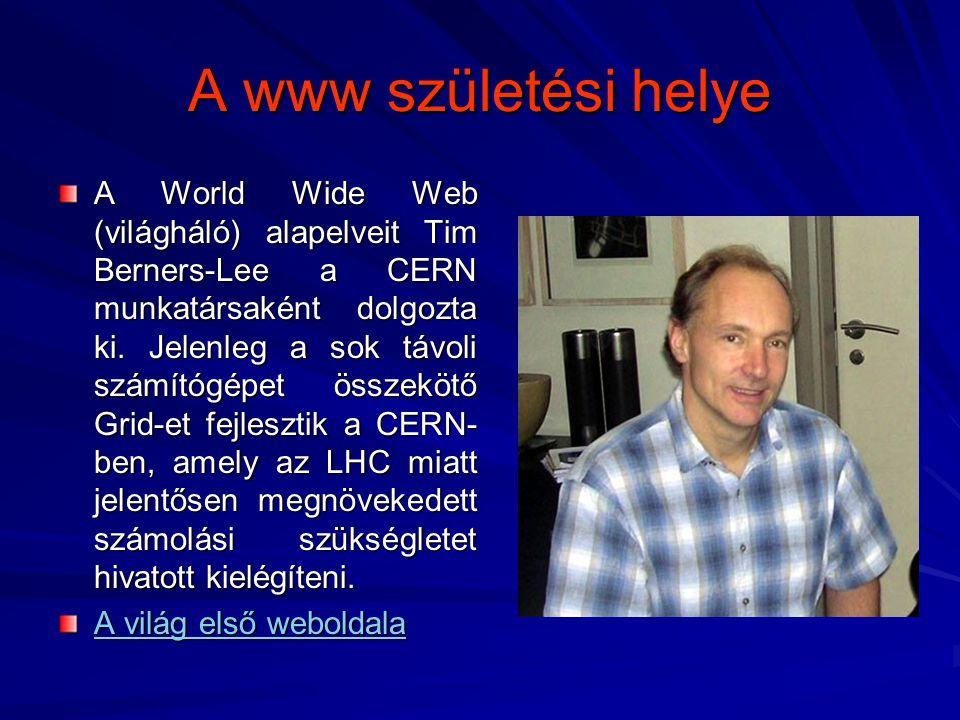 A www születési helye A World Wide Web (világháló) alapelveit Tim Berners-Lee a CERN munkatársaként dolgozta ki. Jelenleg a sok távoli számítógépet ös