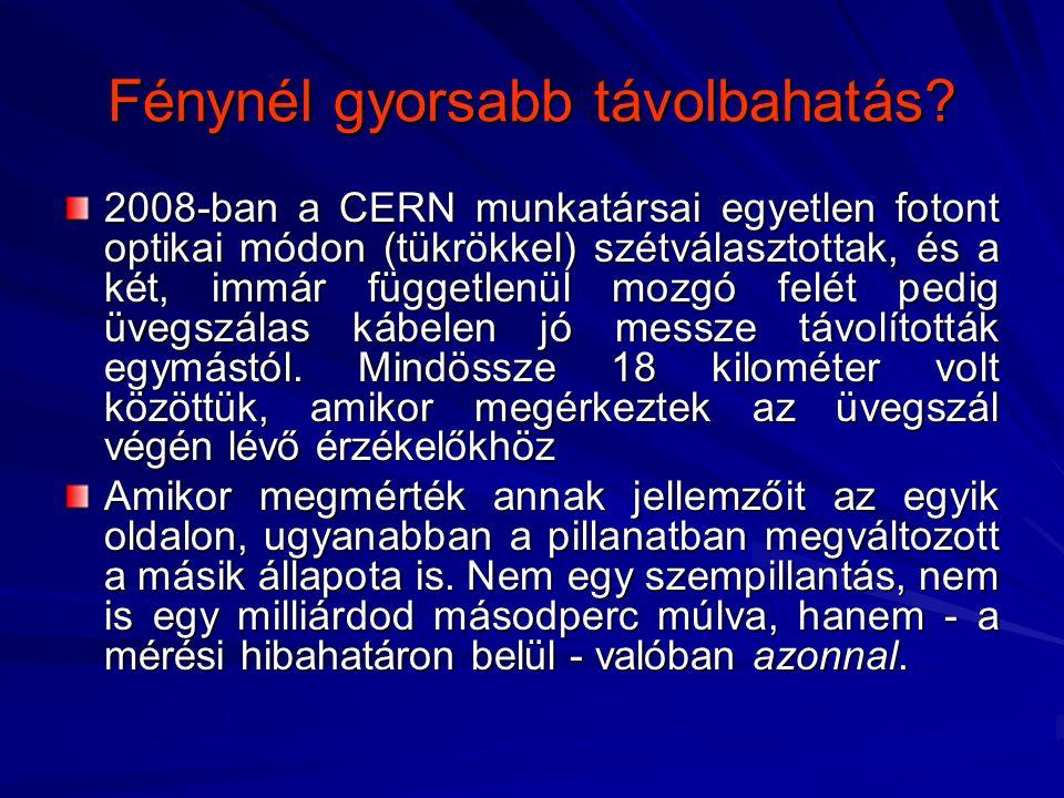 Fénynél gyorsabb távolbahatás? 2008-ban a CERN munkatársai egyetlen fotont optikai módon (tükrökkel) szétválasztottak, és a két, immár függetlenül moz