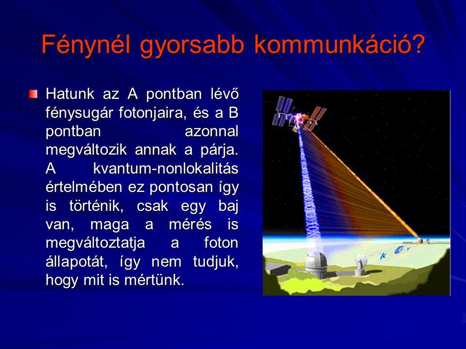 Fénynél gyorsabb kommunkáció? Hatunk az A pontban lévő fénysugár fotonjaira, és a B pontban azonnal megváltozik annak a párja. A kvantum-nonlokalitás