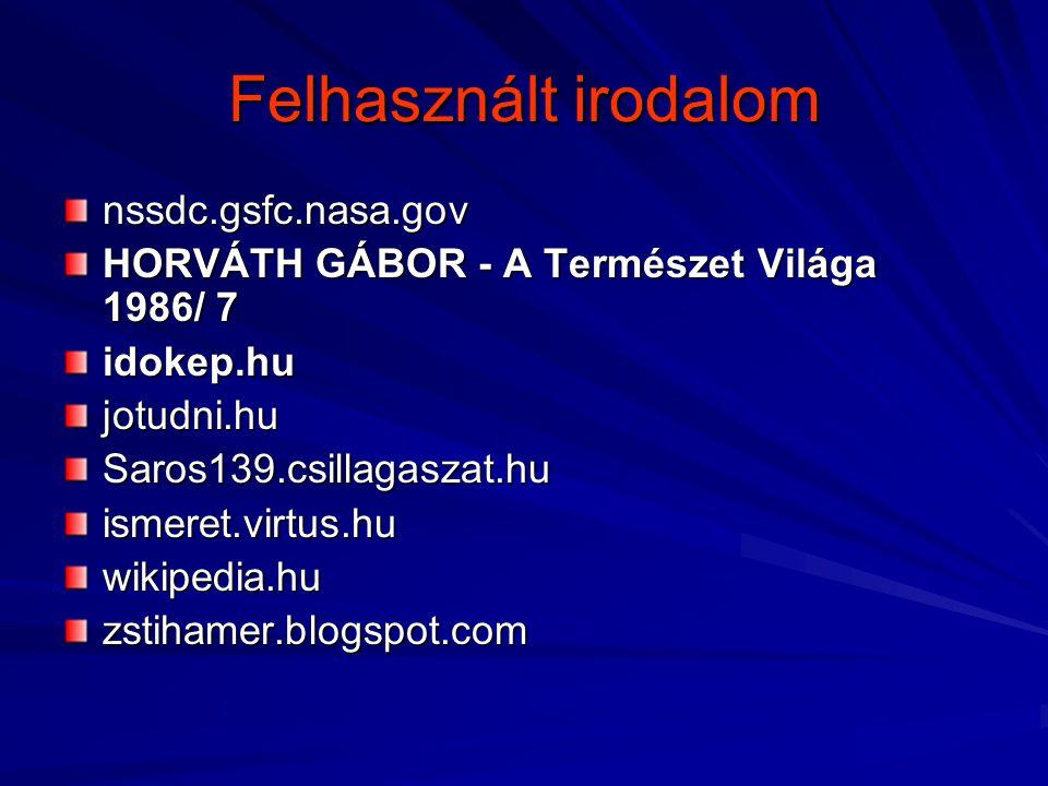 Felhasznált irodalom nssdc.gsfc.nasa.gov HORVÁTH GÁBOR - A Természet Világa 1986/ 7 idokep.hujotudni.huSaros139.csillagaszat.huismeret.virtus.huwikipe