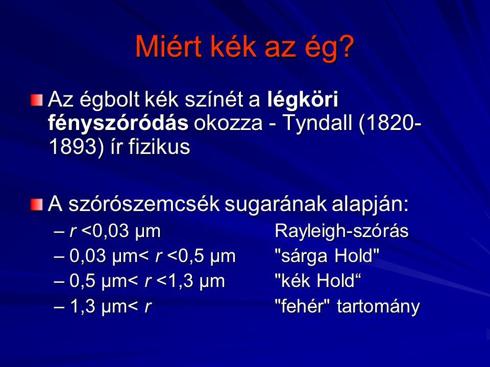 Az égbolt kék színét a légköri fényszóródás okozza - Tyndall (1820- 1893) ír fizikus A szórószemcsék sugarának alapján: –r <0,03 µm Rayleigh-szórás –r