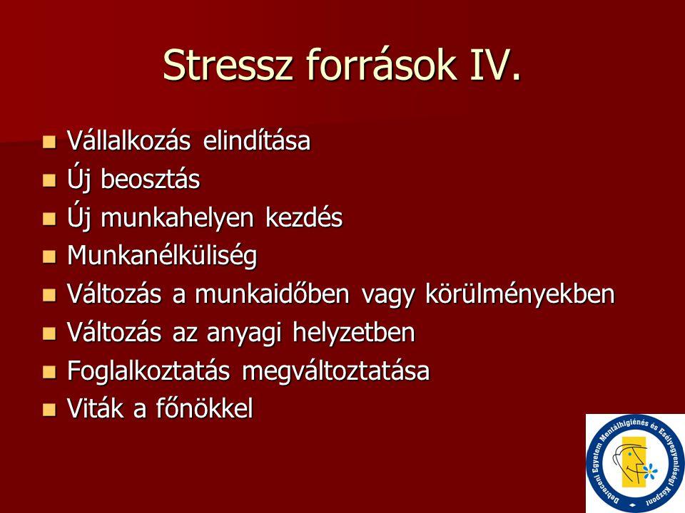 Stressz források IV.  Vállalkozás elindítása  Új beosztás  Új munkahelyen kezdés  Munkanélküliség  Változás a munkaidőben vagy körülményekben  V