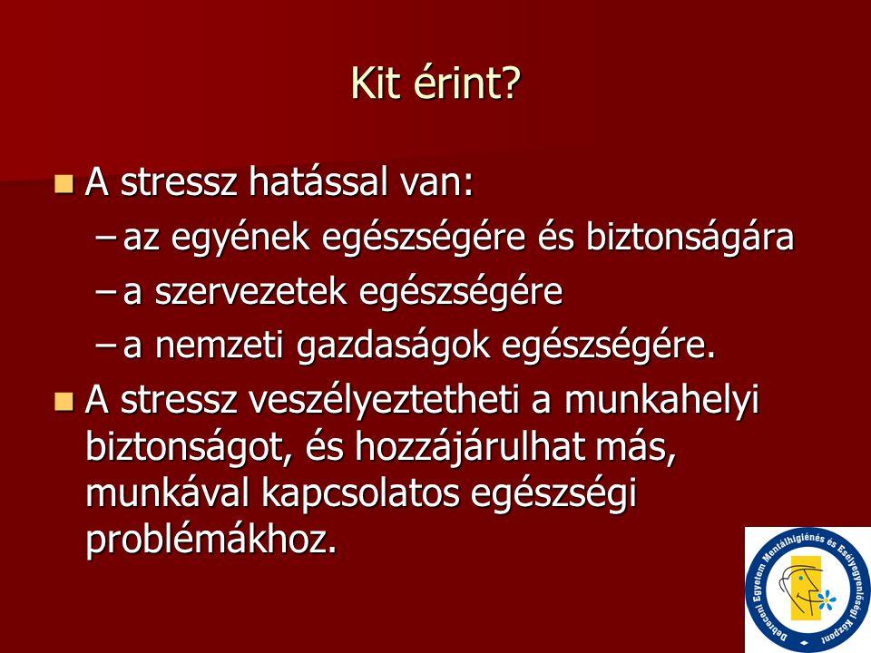 Kit érint?  A stressz hatással van: –az egyének egészségére és biztonságára –a szervezetek egészségére –a nemzeti gazdaságok egészségére.  A stressz