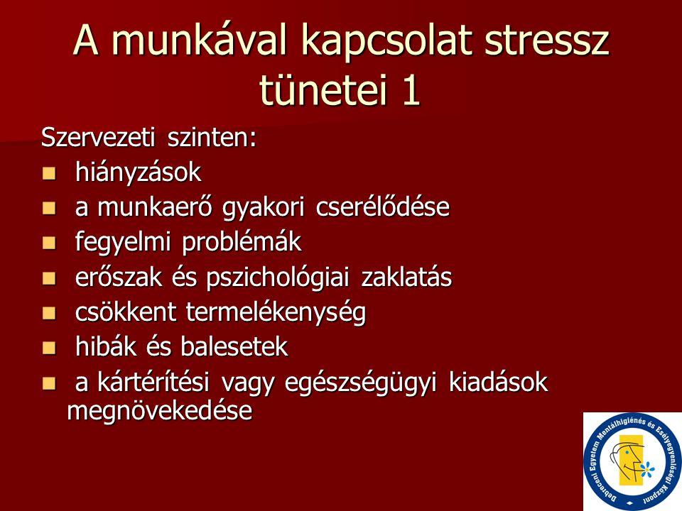 A munkával kapcsolat stressz tünetei 1 Szervezeti szinten:  hiányzások  a munkaerő gyakori cserélődése  fegyelmi problémák  erőszak és pszichológi