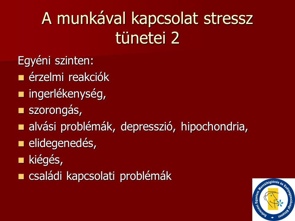 A munkával kapcsolat stressz tünetei 2 Egyéni szinten:  érzelmi reakciók  ingerlékenység,  szorongás,  alvási problémák, depresszió, hipochondria,