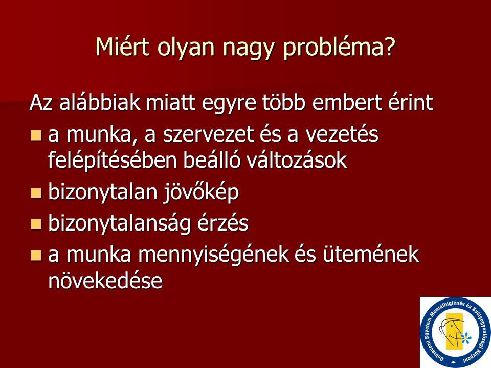 Munkával kapcsolatos stressz – komoly probléma  A munkával kapcsolatos stressz (MKS) gazdasági költsége körülbelül 20 000 millió euro volt 2002-ben az EU 15 tagállamában.