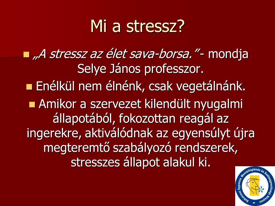 """Mi a stressz?  """"A stressz az élet sava-borsa."""" - mondja Selye János professzor.  Enélkül nem élnénk, csak vegetálnánk.  Amikor a szervezet kilendül"""