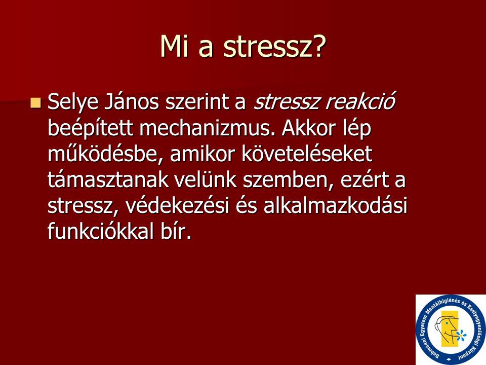 Mi a stressz?  Selye János szerint a stressz reakció beépített mechanizmus. Akkor lép működésbe, amikor követeléseket támasztanak velünk szemben, ezé
