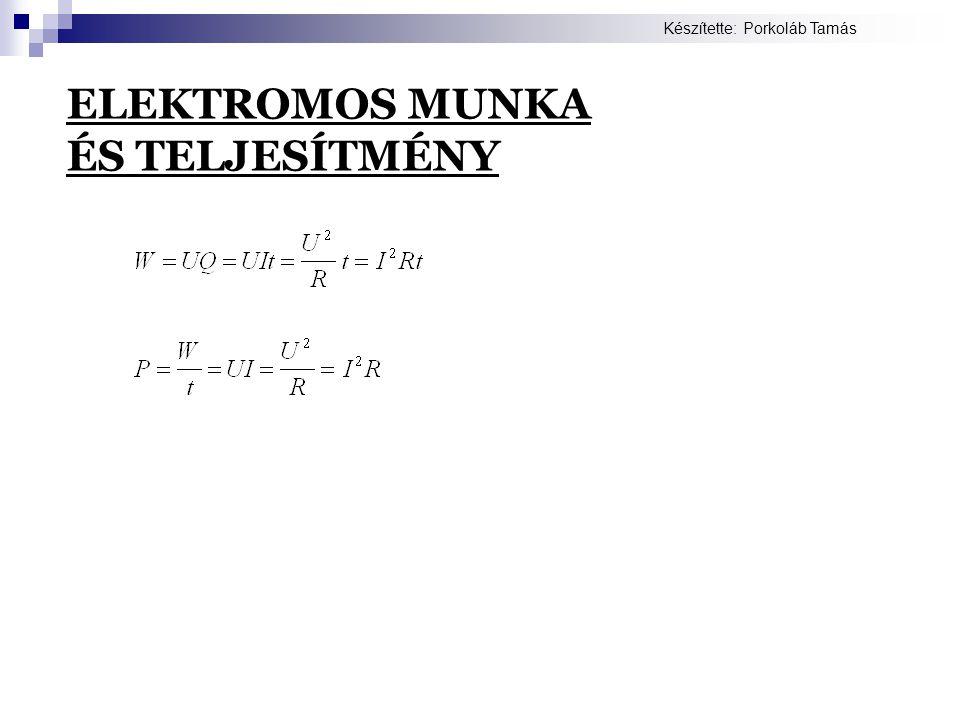 ELEKTROMOS MUNKA ÉS TELJESÍTMÉNY Készítette: Porkoláb Tamás