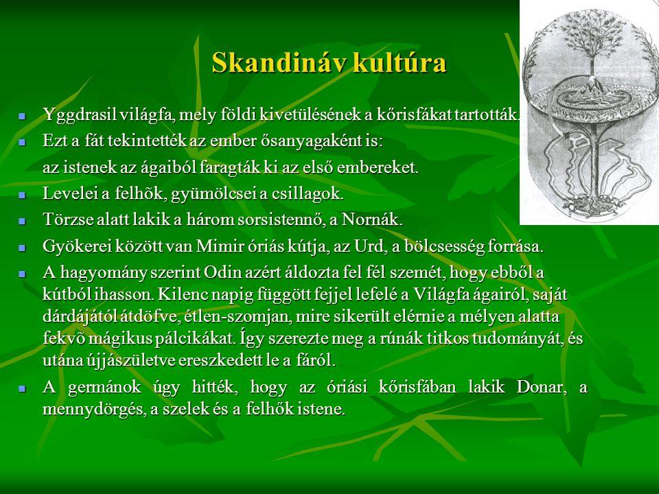 Skandináv kultúra  Yggdrasil világfa, mely földi kivetülésének a kőrisfákat tartották.  Ezt a fát tekintették az ember ősanyagaként is: az istenek a