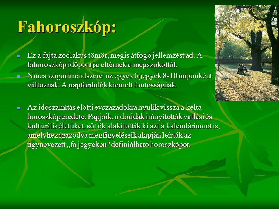 Fahoroszkóp:  Ez a fajta zodiákus tömör, mégis átfogó jellemzést ad. A fahoroszkóp időpontjai eltérnek a megszokottól.  Nincs szigorú rendszere: az