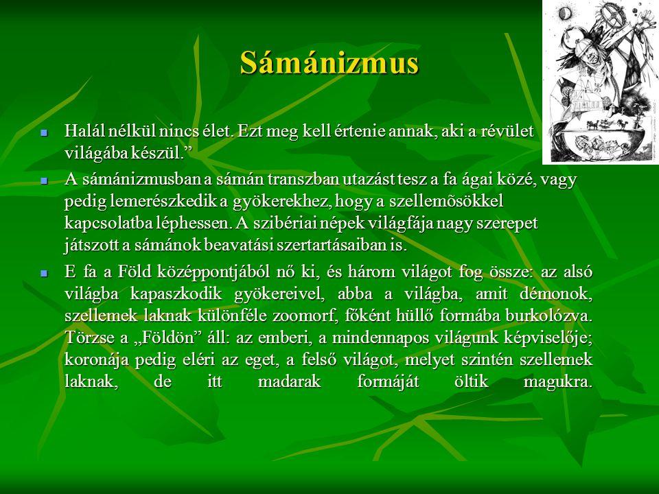 """Sámánizmus  Halál nélkül nincs élet. Ezt meg kell értenie annak, aki a révület világába készül.""""  A sámánizmusban a sámán transzban utazást tesz a f"""