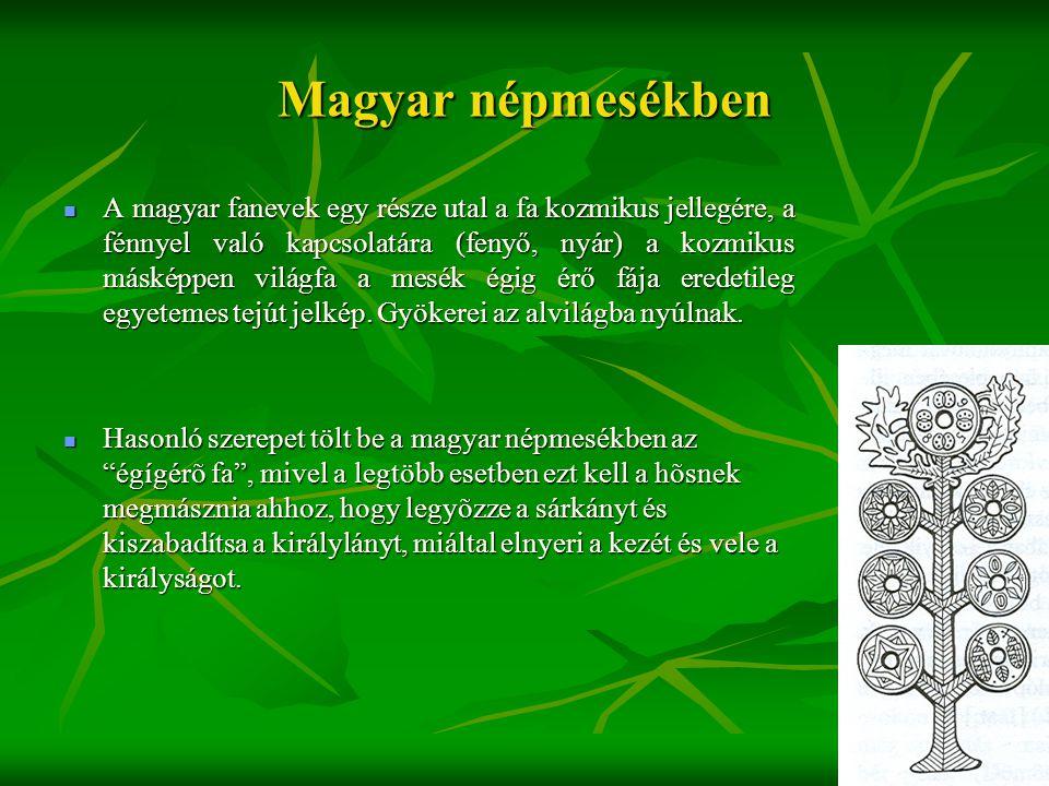 Magyar népmesékben  A magyar fanevek egy része utal a fa kozmikus jellegére, a fénnyel való kapcsolatára (fenyő, nyár) a kozmikus másképpen világfa a