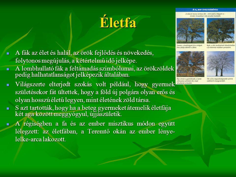Életfa  A fák az élet és halál, az örök fejlődés és növekedés, folytonos megújulás, a kétértelmű idő jelképe.  A lombhullató fák a feltámadás szimbó