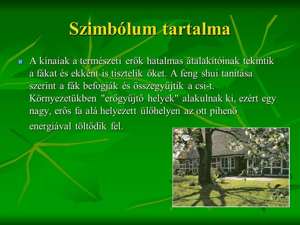 Szimbólum tartalma  A kínaiak a természeti erők hatalmas átalakítóinak tekintik a fákat és ekként is tisztelik őket. A feng shui tanítása szerint a f