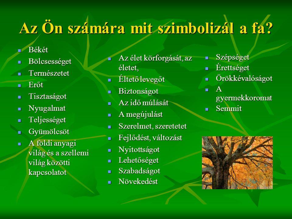 Az Ön számára mit szimbolizál a fa?  Békét  Bölcsességet  Természetet  Erőt  Tisztaságot  Nyugalmat  Teljességet  Gyümölcsöt  A földi anyagi