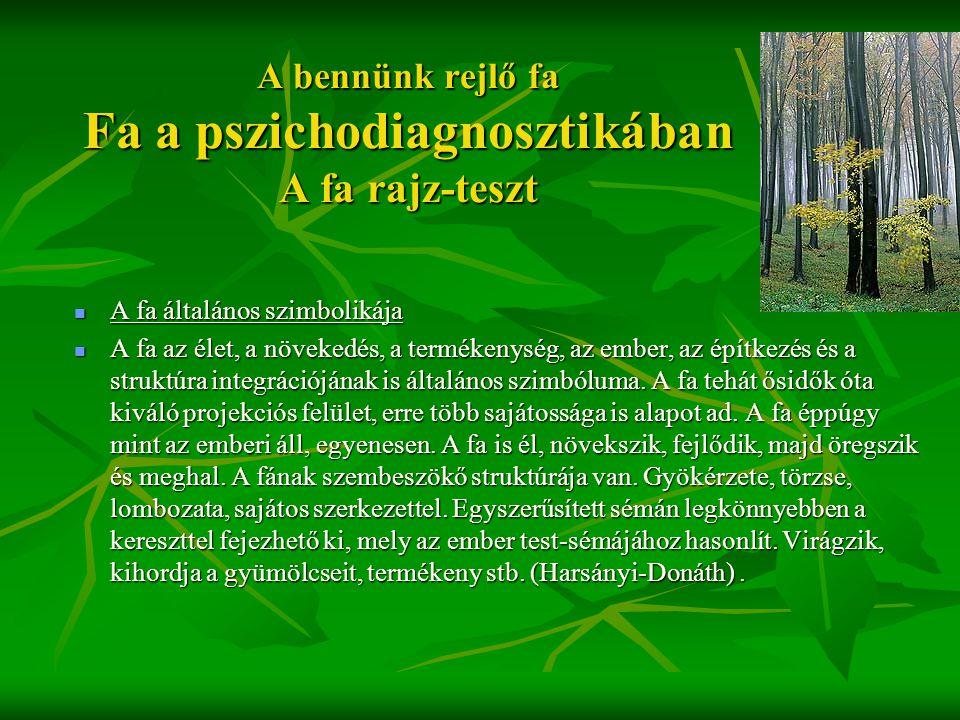 A bennünk rejlő fa Fa a pszichodiagnosztikában A fa rajz-teszt  A fa általános szimbolikája  A fa az élet, a növekedés, a termékenység, az ember, az