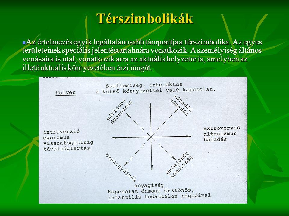 Térszimbolikák  Az értelmezés egyik legáltalánosabb támpontja a térszimbolika. Az egyes területeinek speciális jelentéstartalmára vonatkozik. A sze