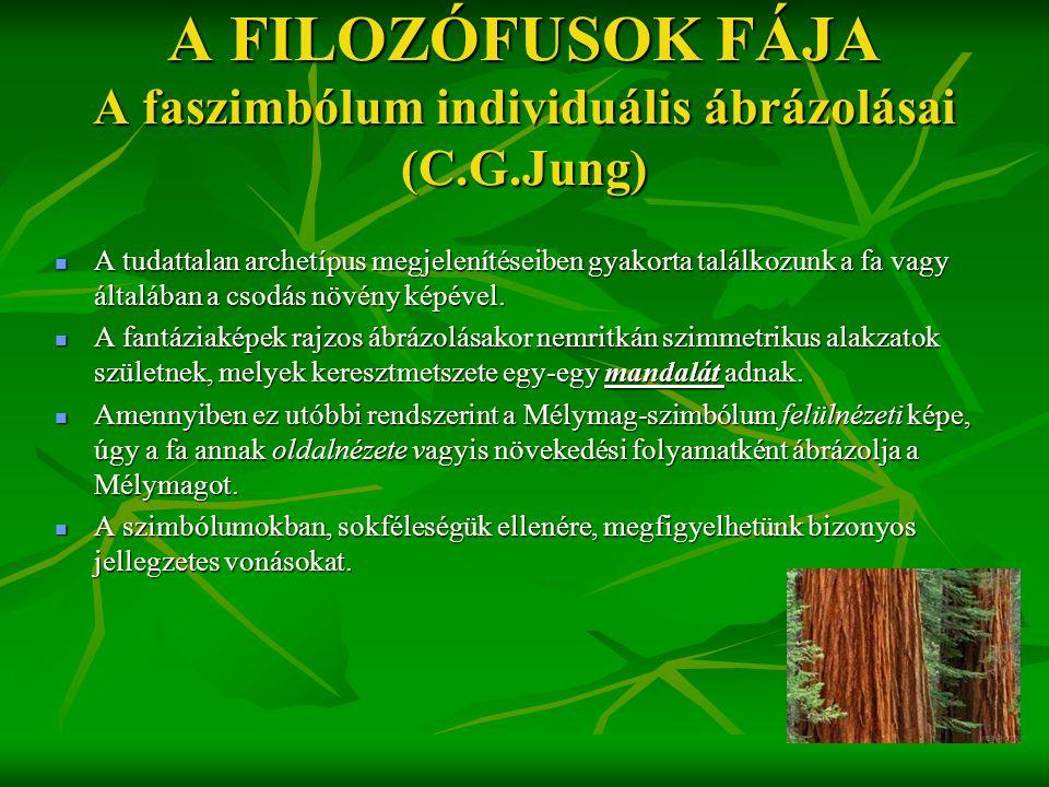 A FILOZÓFUSOK FÁJA A faszimbólum individuális ábrázolásai (C.G.Jung)  A tudattalan archetípus megjelenítéseiben gyakorta találkozunk a fa vagy általá