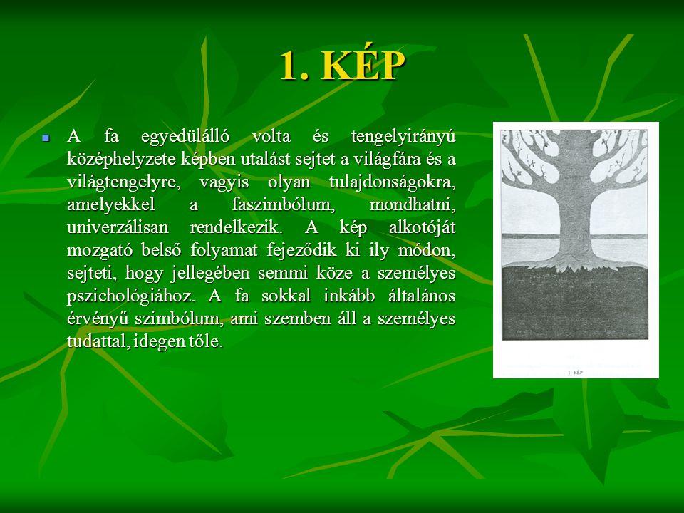 1. KÉP  A fa egyedülálló volta és tengelyirányú középhelyzete képben utalást sejtet a világfára és a világtengelyre, vagyis olyan tulajdonságokra, am
