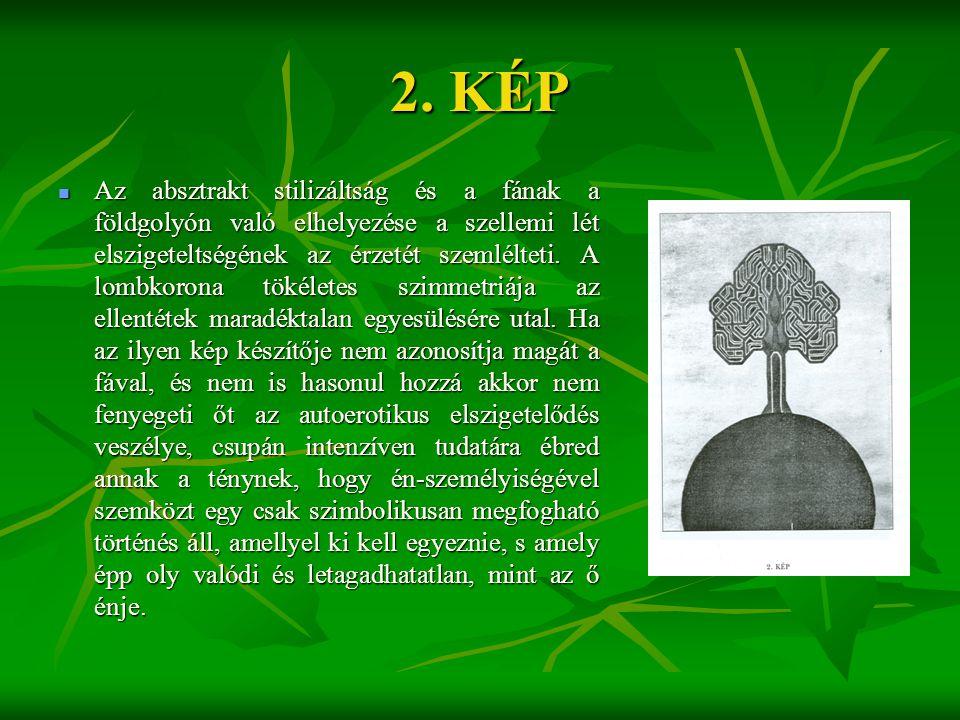 2. KÉP  Az absztrakt stilizáltság és a fának a földgolyón való elhelyezése a szellemi lét elszigeteltségének az érzetét szemlélteti. A lombkorona tök