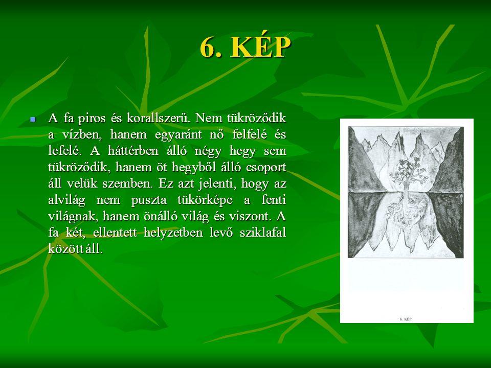6. KÉP  A fa piros és korallszerű. Nem tükröződik a vízben, hanem egyaránt nő felfelé és lefelé. A háttérben álló négy hegy sem tükröződik, hanem öt