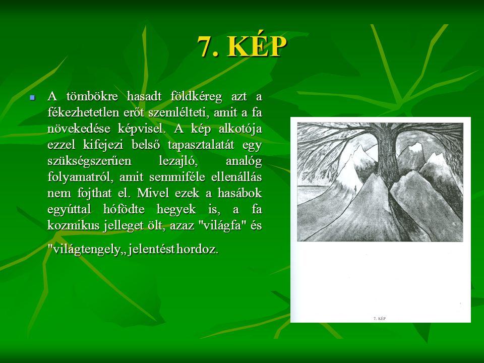 7. KÉP  A tömbökre hasadt földkéreg azt a fékezhetetlen erőt szemlélteti, amit a fa növekedése képvisel. A kép alkotója ezzel kifejezi belső tapaszta