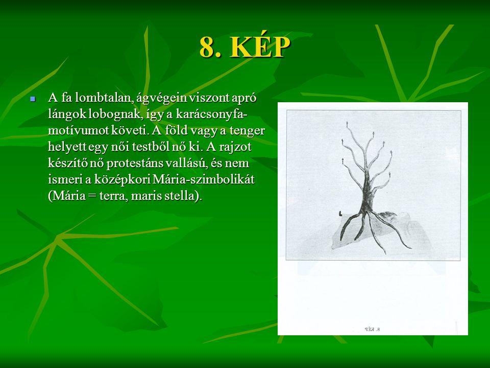 8. KÉP  A fa lombtalan, ágvégein viszont apró lángok lobognak, így a karácsonyfa- motívumot követi. A föld vagy a tenger helyett egy női testből nő k
