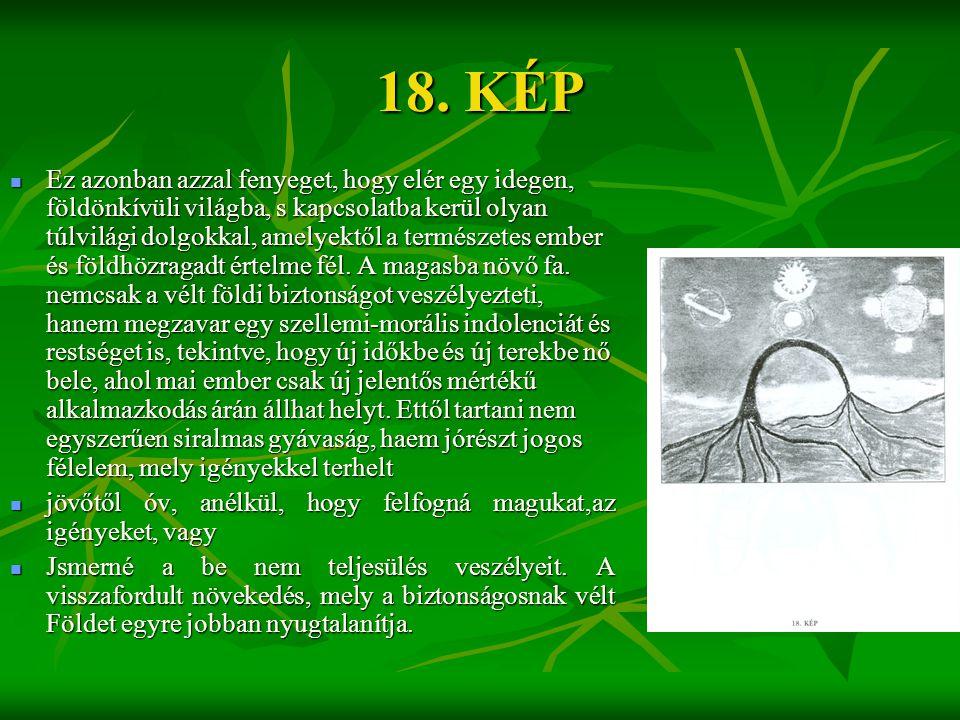 18. KÉP  Ez azonban azzal fenyeget, hogy elér egy idegen, földönkívüli világba, s kapcsolatba kerül olyan túlvilági dolgokkal, amelyektől a természet