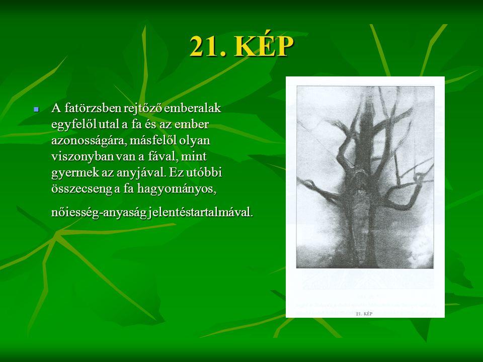 21. KÉP  A fatörzsben rejtőző emberalak egyfelől utal a fa és az ember azonosságára, másfelől olyan viszonyban van a fával, mint gyermek az anyjával.