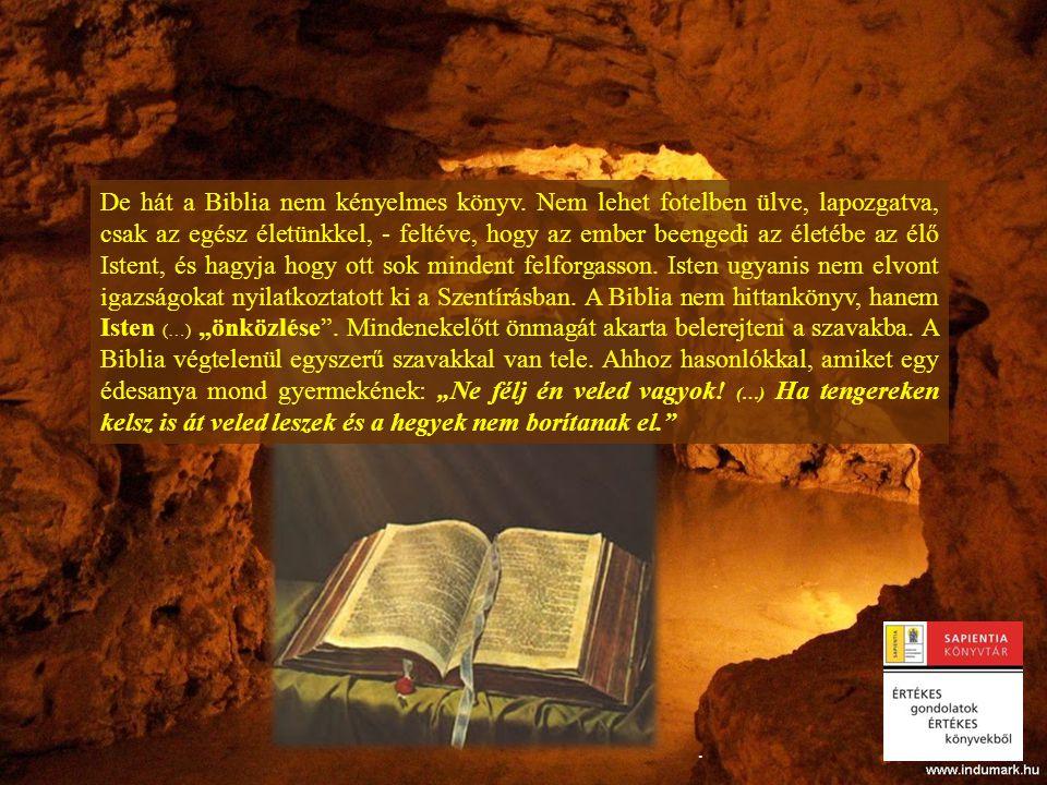 .. De hát a Biblia nem kényelmes könyv. Nem lehet fotelben ülve, lapozgatva, csak az egész életünkkel, - feltéve, hogy az ember beengedi az életébe az