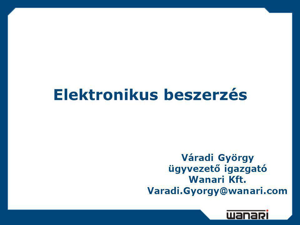 Elektronikus beszerzés Váradi György ügyvezető igazgató Wanari Kft. Varadi.Gyorgy@wanari.com