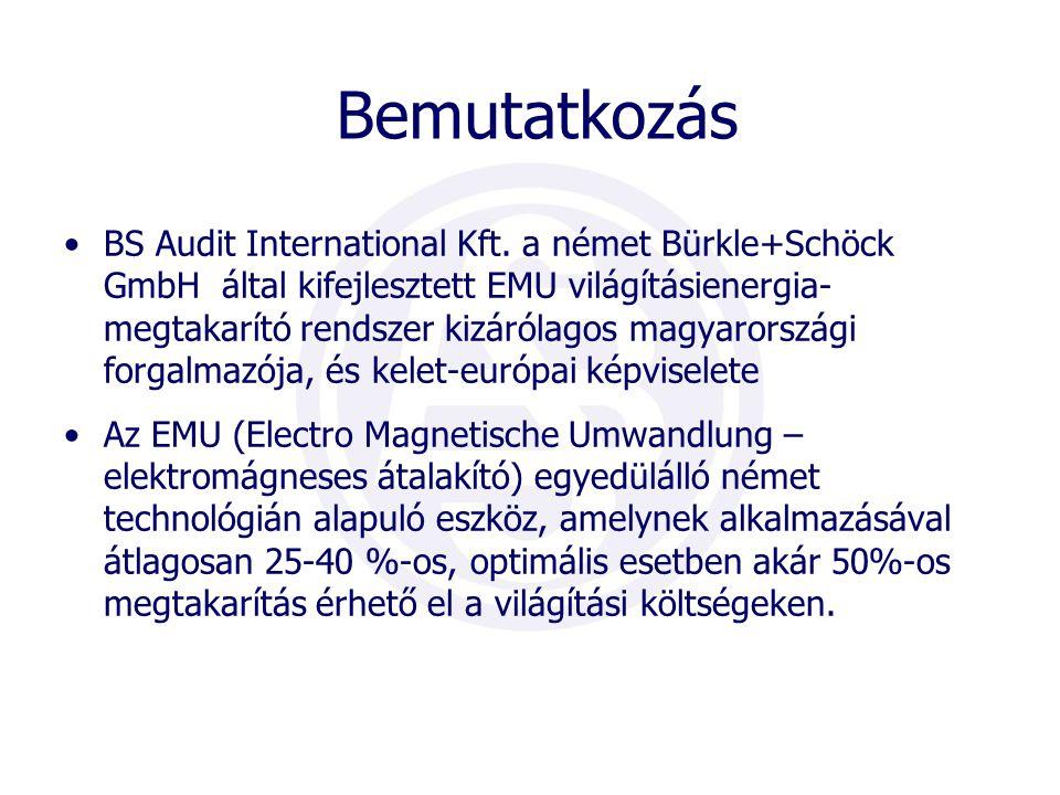 Bemutatkozás •BS Audit International Kft. a német Bürkle+Schöck GmbH által kifejlesztett EMU világításienergia- megtakarító rendszer kizárólagos magya