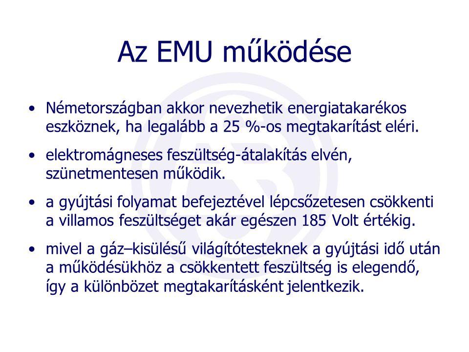 Az EMU használata esetén: •a világítási költség mintegy 25-40%-kal csökken; •a világítótestek hőmérséklete (70-80°C) körülbelül 20°C- kal csökken ezért a világítótestek élettartama megnő; •az elektróda porlódás csökken •3 - 8 % fényveszteség mellett (ami szem számára nem észrevehető) jelentős megtakarítás •a lámpaarmatúrák kevesebb karbantartást igényelnek •környezetvédelem: káros anyag kibocsátás KWh-ként 0,56kg-al csökken