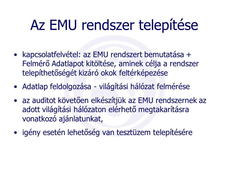 Az EMU rendszer telepítése •kapcsolatfelvétel: az EMU rendszert bemutatása + Felmérő Adatlapot kitöltése, aminek célja a rendszer telepíthetőségét kizáró okok feltérképezése •Adatlap feldolgozása - világítási hálózat felmérése •az auditot követően elkészítjük az EMU rendszernek az adott világítási hálózaton elérhető megtakarításra vonatkozó ajánlatunkat, •igény esetén lehetőség van tesztüzem telepítésére