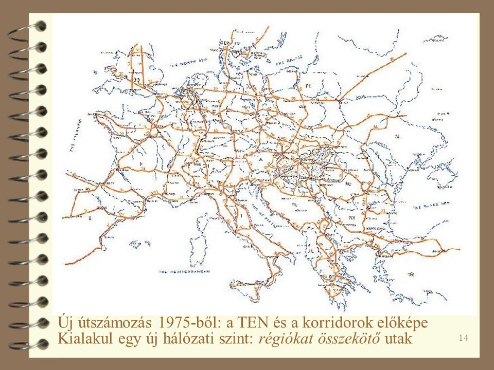 14 Új útszámozás 1975-ből: a TEN és a korridorok előképe Kialakul egy új hálózati szint: régiókat összekötő utak