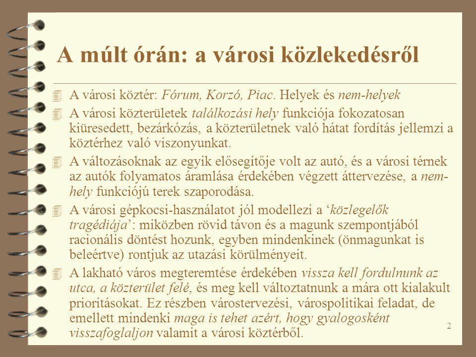 2 A múlt órán: a városi közlekedésről 4 A városi köztér: Fórum, Korzó, Piac. Helyek és nem-helyek 4 A városi közterületek találkozási hely funkciója f
