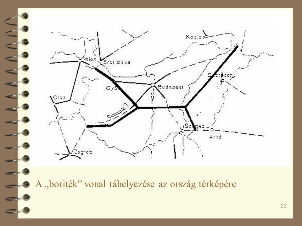 """22 A """"boriték"""" vonal ráhelyezése az ország térképére"""
