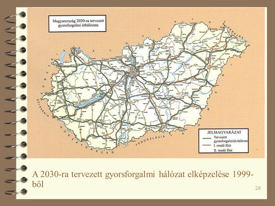 26 A 2030-ra tervezett gyorsforgalmi hálózat elképzelése 1999- ből