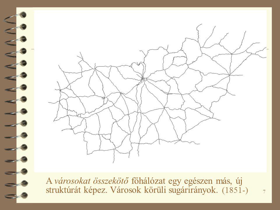 7 A városokat összekötő főhálózat egy egészen más, új struktúrát képez. Városok körüli sugárirányok. (1851-)