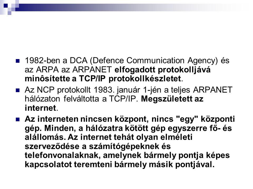  1982-ben a DCA (Defence Communication Agency) és az ARPA az ARPANET elfogadott protokolljává minôsítette a TCP/IP protokollkészletet.  Az NCP proto