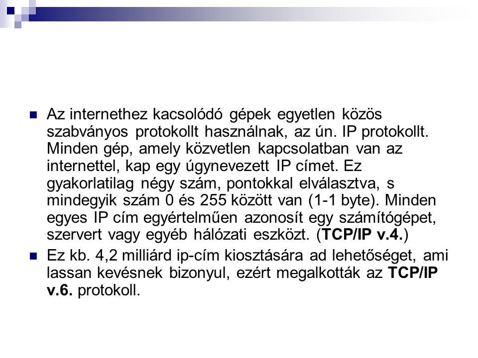  Az internethez kacsolódó gépek egyetlen közös szabványos protokollt használnak, az ún. IP protokollt. Minden gép, amely közvetlen kapcsolatban van a