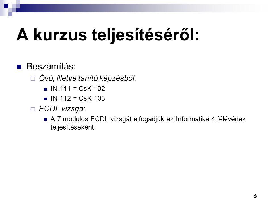 A kurzus teljesítéséről:  Beszámítás:  Óvó, illetve tanító képzésből:  IN-111 = CsK-102  IN-112 = CsK-103  ECDL vizsga:  A 7 modulos ECDL vizsgá