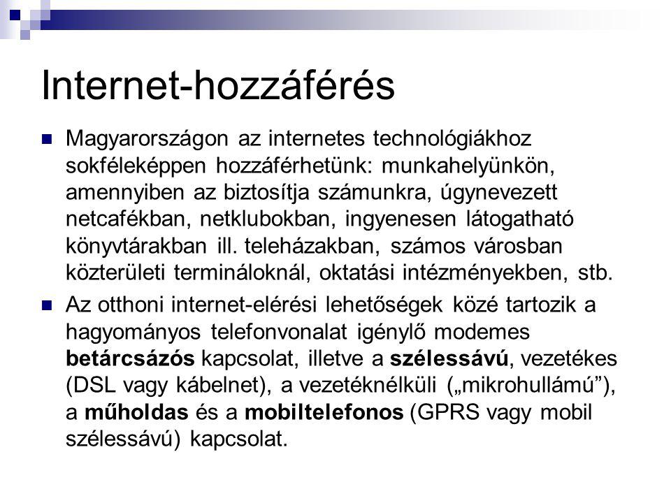 Internet-hozzáférés  Magyarországon az internetes technológiákhoz sokféleképpen hozzáférhetünk: munkahelyünkön, amennyiben az biztosítja számunkra, ú