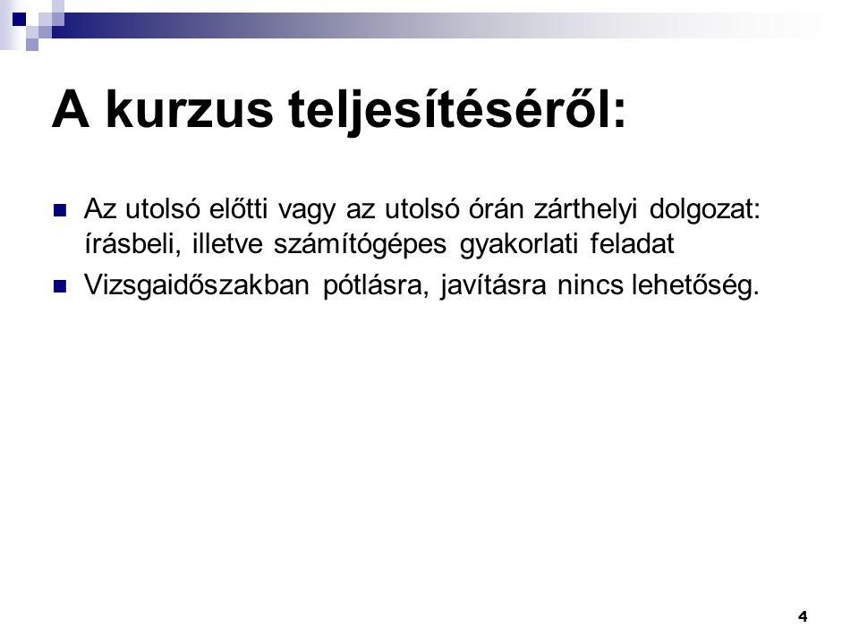 Segédanyag  Az órák anyaga az adott órát követően felkerül a www.ketif.hu oldalra, az oktatási segédanyagok közé; csak regisztrált felhasználóknak érhető el.