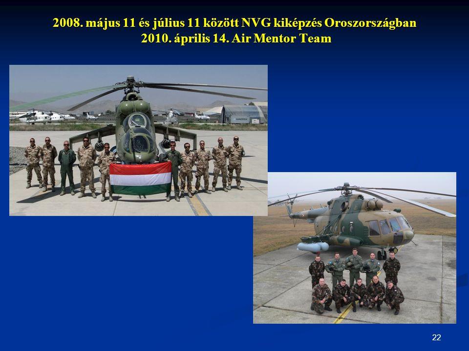 22 2008. május 11 és július 11 között NVG kiképzés Oroszországban 2010. április 14. Air Mentor Team