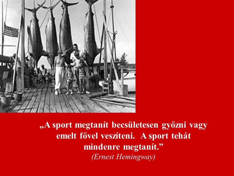 """""""A sport megtanít becsületesen győzni vagy emelt fővel veszíteni. A sport tehát mindenre megtanít."""" (Ernest Hemingway)"""