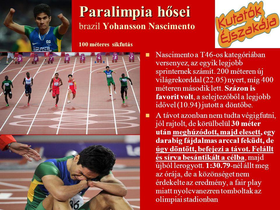 Paralimpia hősei Paralimpia hősei brazil Yohansson Nascimento 100 méteres síkfutás   Nascimento a T46-os kategóriában versenyez, az egyik legjobb sprinternek számít.